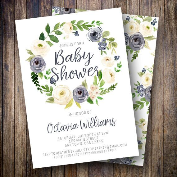 Baby Shower Invitation, Greenery Boho Baby Shower, Boy Baby Shower Invite, Gender Neutral Baby Shower, Watercolor Floral in Navy, Cream - Spotted Gum Design - Etsy