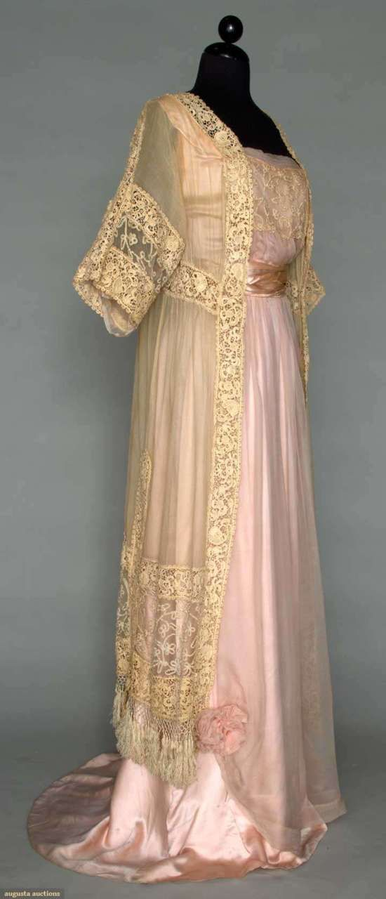 1912. pink and lace dinner dress