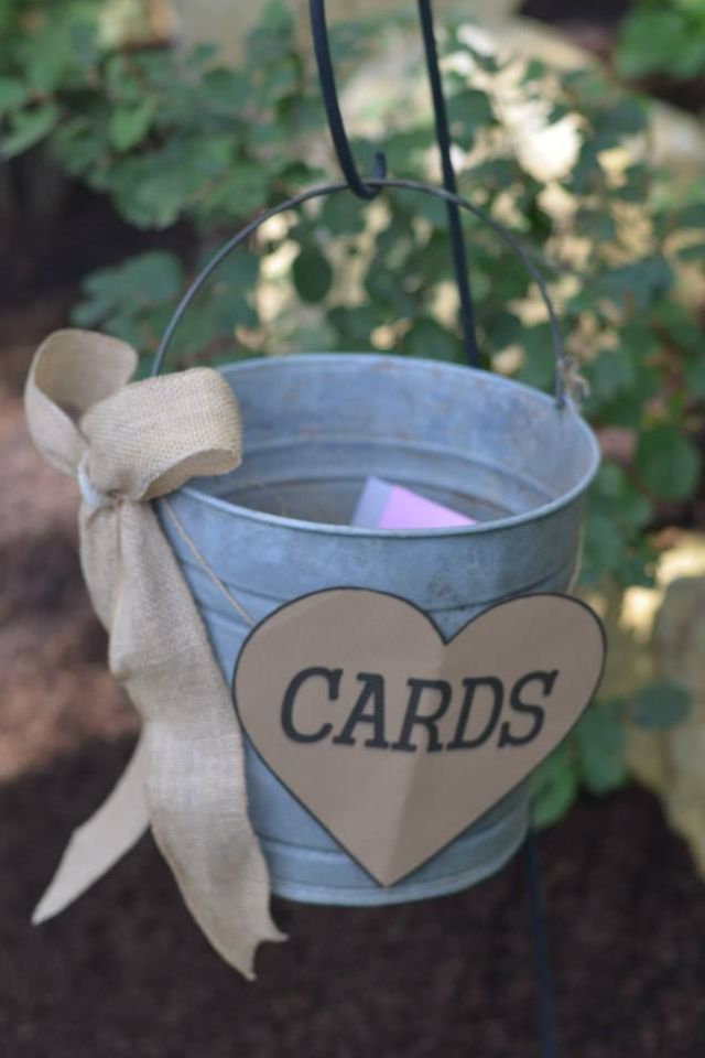 Use old bucket for card holder for country themed bridal shower