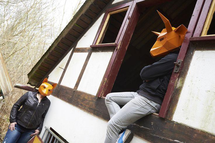 masken, orange, shooting, werbeagentur [raster]fabrik gmbh, fachwerk, fuchs, stier, haus