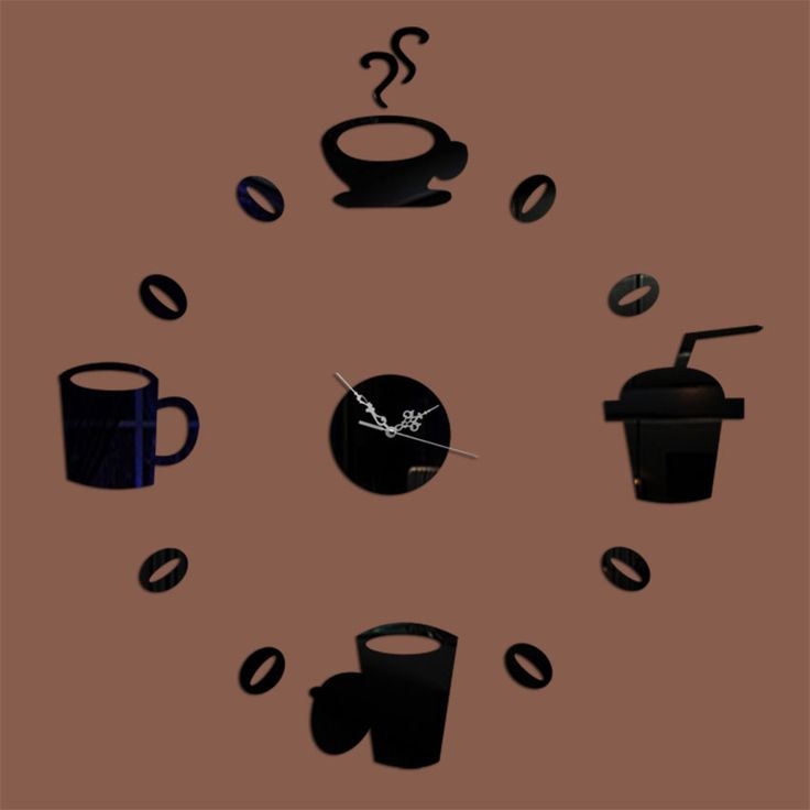 pas cher tasses caf cuisine art mural miroir horloge