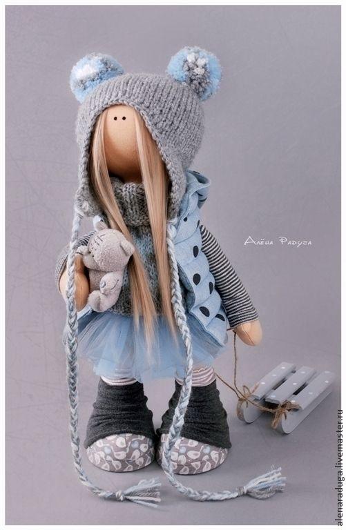 """Купить """"ТЕДДИ МЕДВЕДИ"""" - голубой, серо- голубой, тедди, тедди медведи, с санками, зима, подарок"""