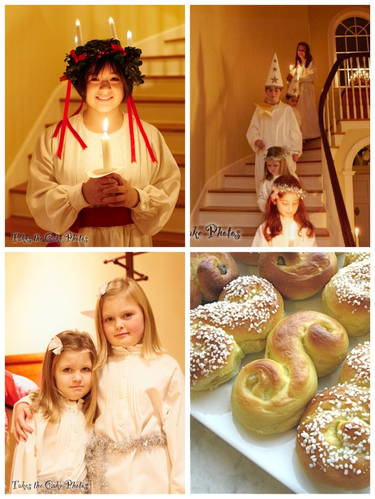 Christmas Traditions: Christmas begins in Sweden with the Saint Lucia ceremony. Before dawn on the morning of 13 December, the youngest daughter from each family puts on a white robe with a red sash. She wears a crown of evergreens with tall-lighted candles attached to it. She wakes her parents, and serves them with coffee and Lucia buns. The other children accompany her & the boys dress as star boys in long white shirts and pointed hats. (Safety: only use electric candles, not real ones!!)