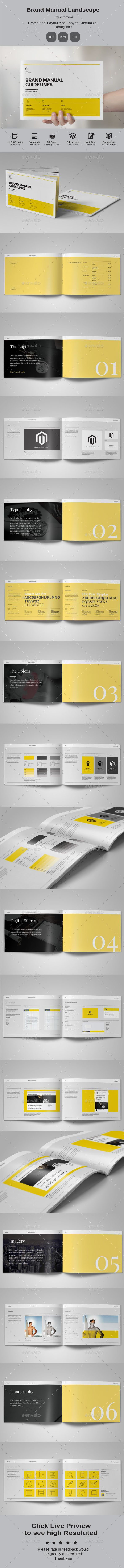 Minimal and Professional Brand Manual Landscape Brochure Template InDesign INDD…