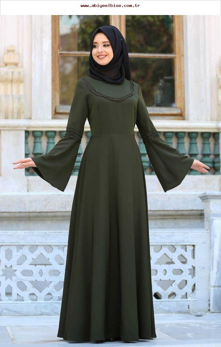 1edd74e32e79b NEVA STYLE - Neva Style - Volan Kol Haki Tesettür Elbise 41580HK, #41580hk #