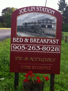 Our first Bed and Breakfast experience - over the summer we stayed at the quaint Joe-Lin Station B in Bowmanville, ON.
