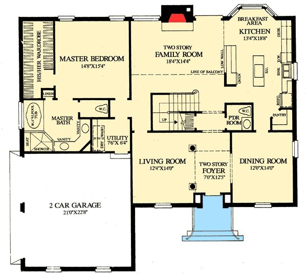 Clean Open Floor Plan: Plan 32547WP: Colonial Home With First Floor Master