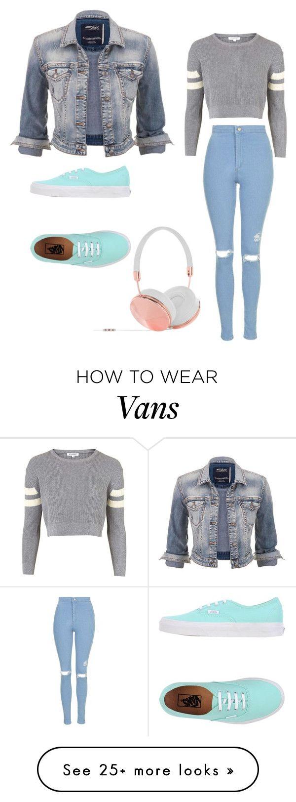sweater gris, campera de jean, jean, zapas verde agua y audifonos rosas