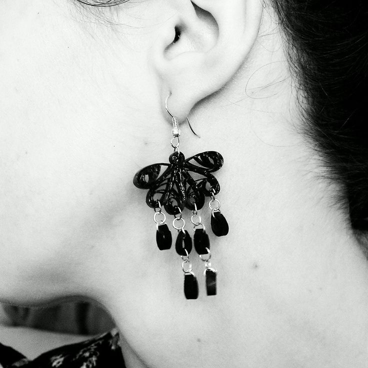 black lace earrings #quillczyki