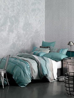 Tavira Turquoise   Bedding In Soft Shades Of Silver Grey And Turquoise.