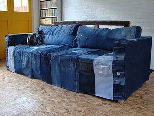 REUSED DENIM UPHOLSTRY, SLIP COVERS upcycled denim couch, reused denim couch, recycled denim couch, reclaimed denim couch - Diy, sewing, remake, reuse, recycle, upcycle, how to make, tutorials, patterns, technique, fabric, material, old jeans, denim, easy, mending, scraps, patchwork