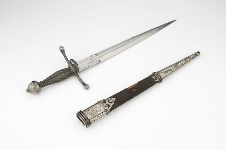 Parrying Dagger with Scabbard | The Art Institute of Chicago  German, Saxony  Parrying Dagger with Scabbard, 1580  Steel, silver, and wood; silvered hilt and silver-mounted scabbard Overall L. 38.8 cm (15 1/4 in.)  Blade L. 28 cm (11 in.) Wt. 11 oz. Scabbard Wt. 4 oz.  George F. Harding Collection, 1982.2159a-b