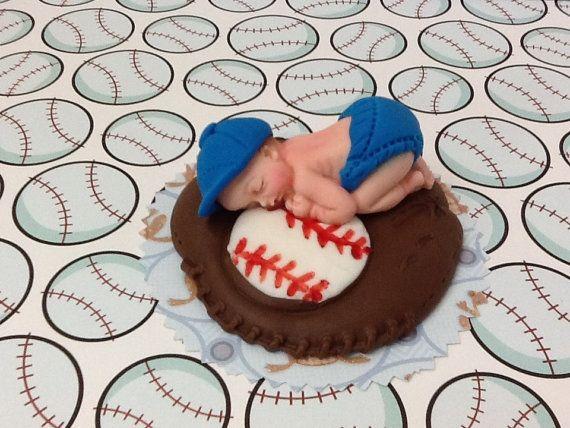 Baseball/Edible Cake Toppers Made of Vanilla Fondant por anafeke