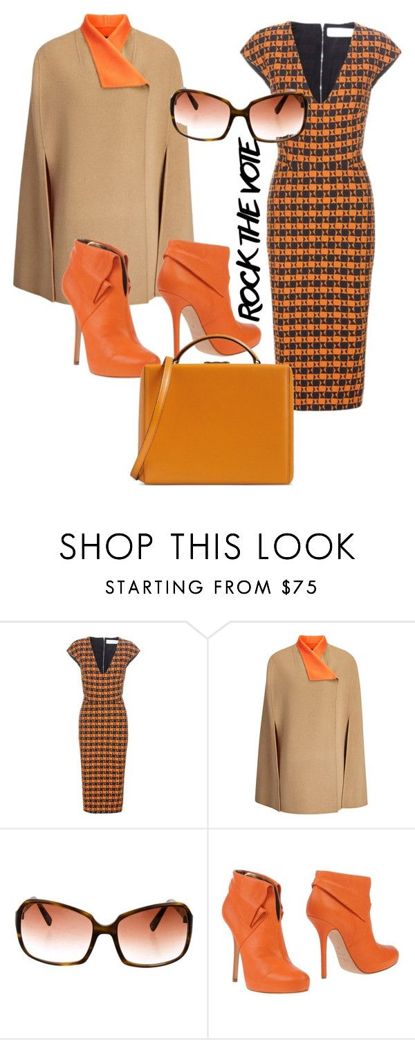 """""""Orange Revolution"""" by riccio-25 ❤ liked on Polyvore featuring Victoria Beckham, Joseph, Oliver Peoples, Blumarine, Mark Cross and rockthevote"""