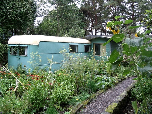 Findhorn Scotland. The original caravan and gardens planted and tended from sandy soil under spiritual guidance and composting.