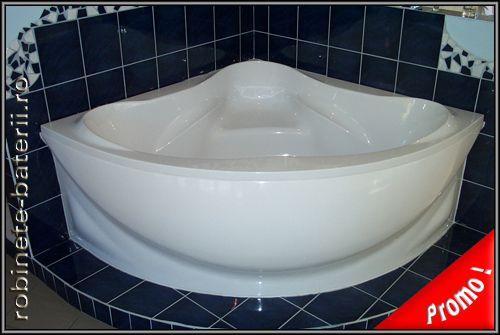 Cada baie pe colt Castello 140 x 140 cm din compozit marmura