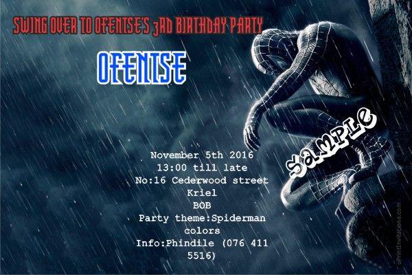 Card: Spiderman Birthday Invitations Black