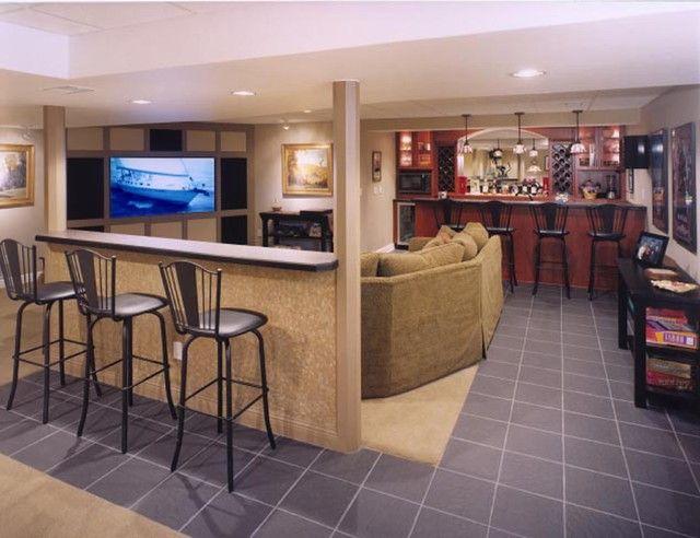lower level family room modern basement