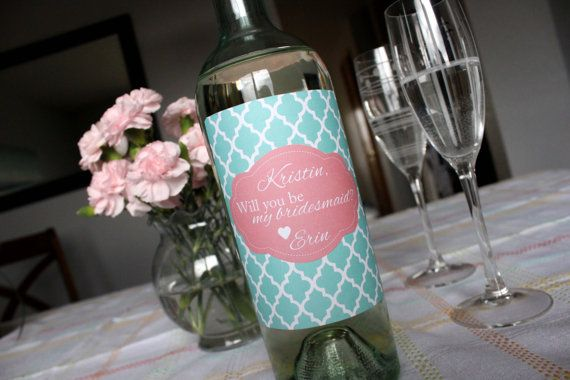 Set of FOUR Be My Bridesmaid Wine Bottle Label by StickEmUpLabels
