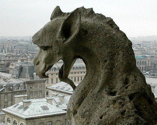 The gargoyle's of Notre Dame. Link: http://www.environmentalgraffiti.com/featured/paris-evolving-gaze-notre-dame-gargoyles/13595