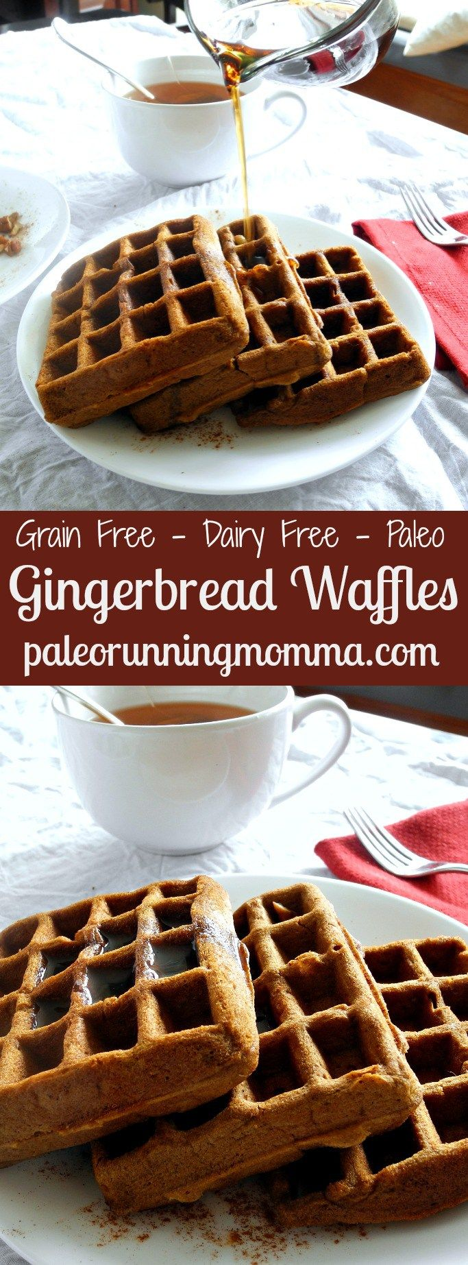 Grain Free, Dairy Free, Paleo Gingerbread Waffles @paleorunmomma - These waffles are made with coconut and tapioca flour, sweetened with molasses and spiced with cinnamon, ginger and cloves