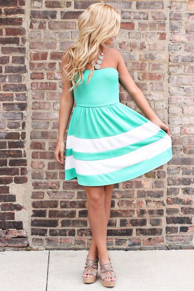Strapless Mint Striped Sweetheart Dress