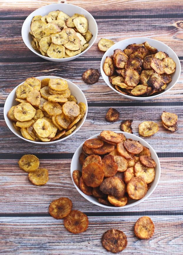 ~Healthy Baked Plantain Chips Four Ways ~*
