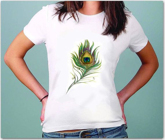 Feather of Peafowl - Art - Tshirt for women - summer fashion - Quotes t-shirt - for her / for women by TShirtpanic