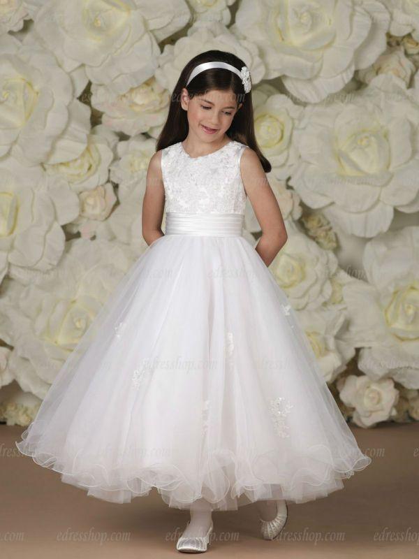 White Girl first communion dress Tea length Lace Sleeveless Ball ...