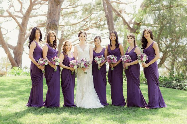 Long Romantic Purple bridesmaid gowns in this Wedding at La Venta Inn / Figlewickz Photography @figlewiczphoto http://www.confettidaydreams.com/tree-chapel-forest-wedding/