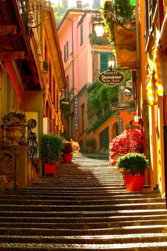 """Bellagio, Lake Como, Italy.  Called the """"Pearl of the Lake"""", Bellagio's world class hotels and restaurants.The village is characterised by century-old buildings, stone lanes ."""