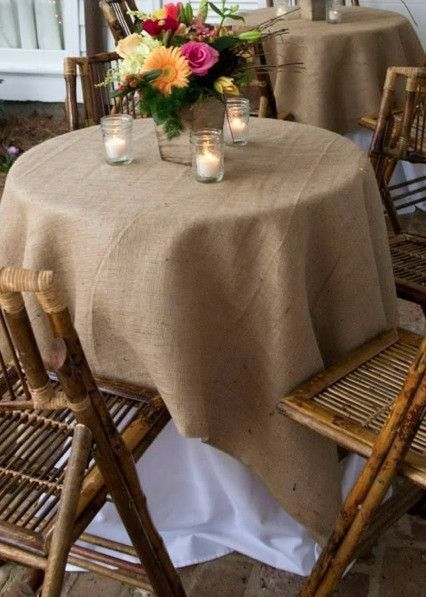 Burlap table cloth in natural 60 inch square. This table cloth will be the perfect accent to any rustic wedding or home decor. Shop All Burlap