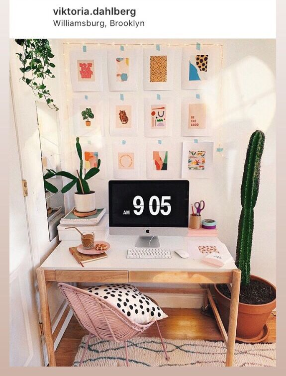 Aesthetic Cute Desk Office Area Urban Outfitters Cozychloe Budget Home Decorating Home Office Design Home Decor