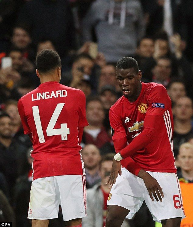 Pogba later added a spectacular second and celebrated with Lingard...