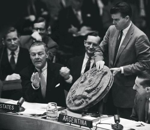 "Henry Cabot Lodge Jr. presenting ""The Thing"" to the Security Council at the United Nations. 26 May 1960."