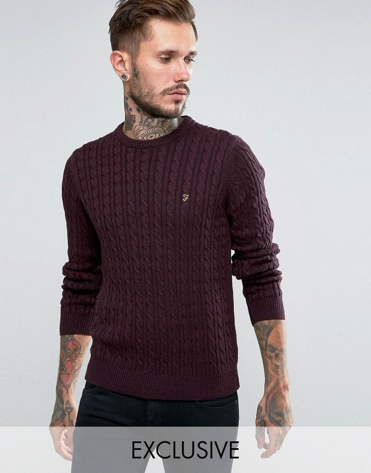 Image 1 of Farah Jumper with Cable Knit Exclusive