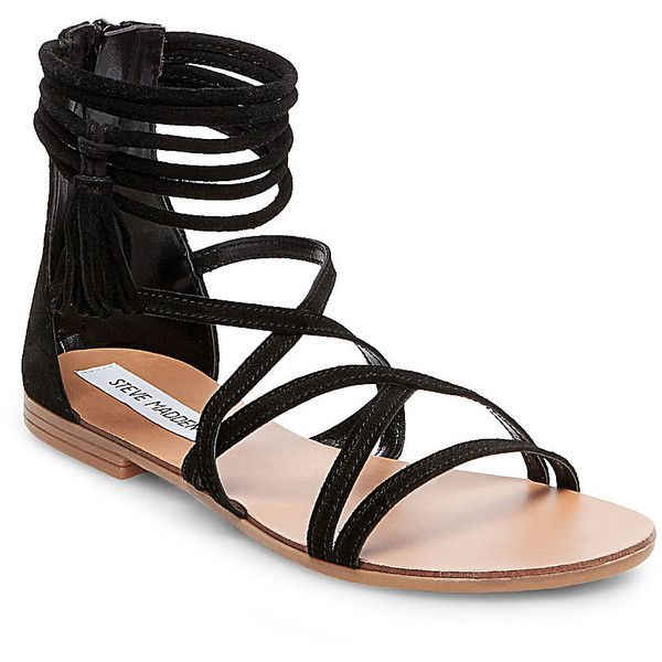 Steve Madden Kasen Sandals ($80) ❤ liked on Polyvore featuring shoes, sandals, black suede, ankle wrap flat sandals, black suede sandals, tassel sandals, steve madden sandals and flat pumps