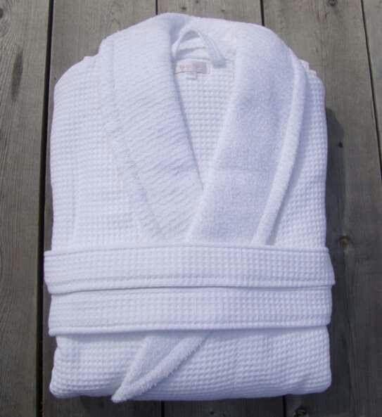Batas de ba o de pique forradas de tela de toalla por for Perchas toallas bano
