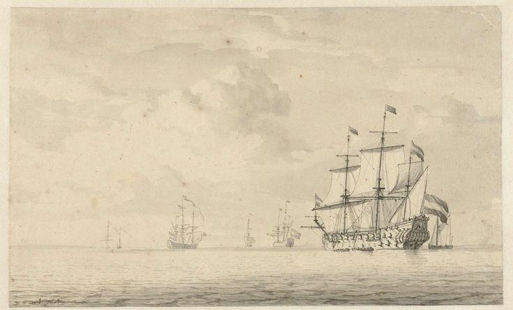 Stille zee met enkele oorlogsschepen, Willem van de Velde (I), Willem van de Velde (II), 1621 - 1707