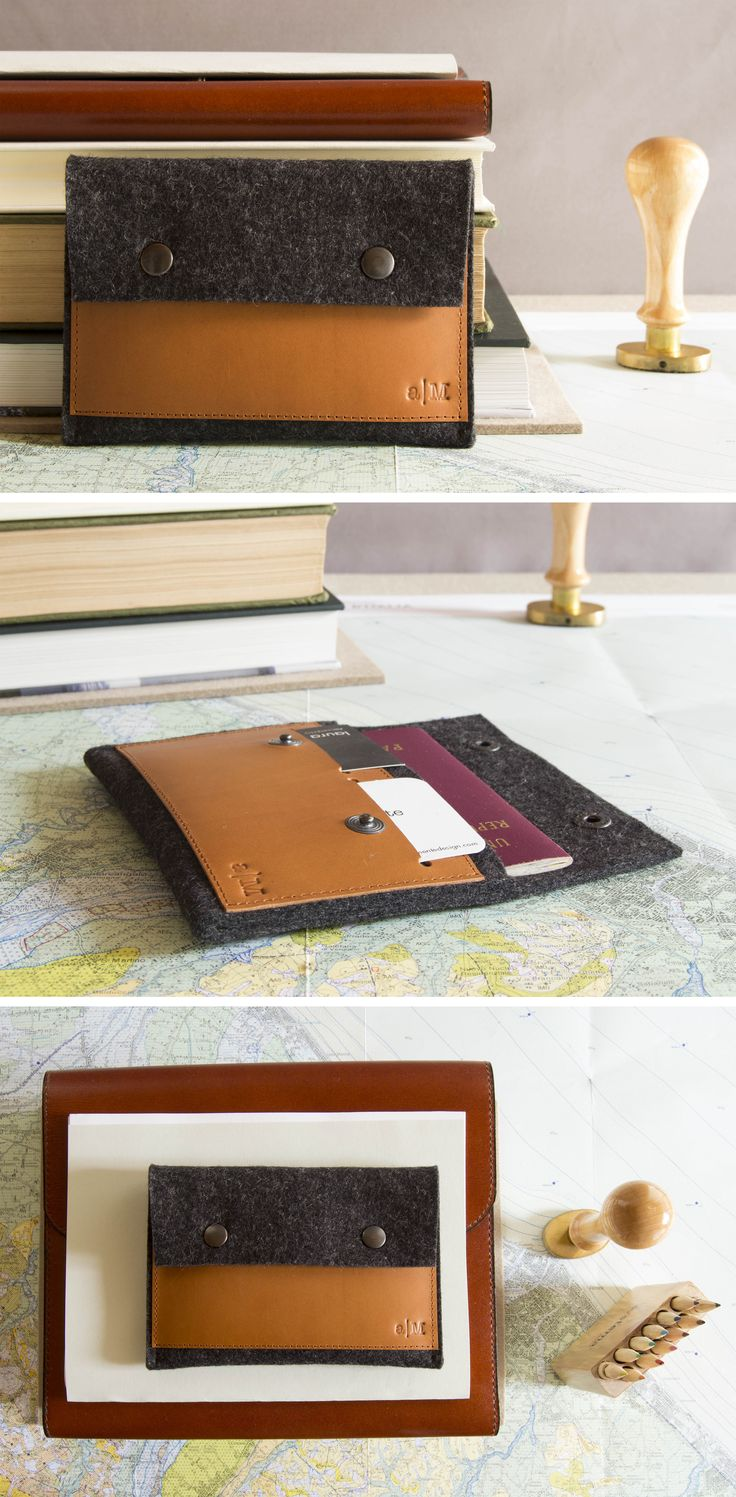 Felt and leather passport wallet - made in Italy by anonimaMente design #passport #traveling #travelling #wallet #case #passportcase #vegetabletannedleather #leather #realleather #charcoal #woolfelt #giftidea #gift #giftsforhim #accessories #mensaccessories