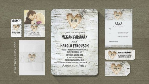 Birch Bark Carved Heart Wedding Invite Invitations Pinterest Rustic Stationery And