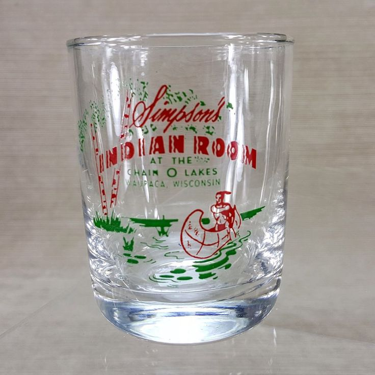 Simpson's Indian Room Rocks Bar Drink Glass Chain O' Lakes Waupaca Wisconsin