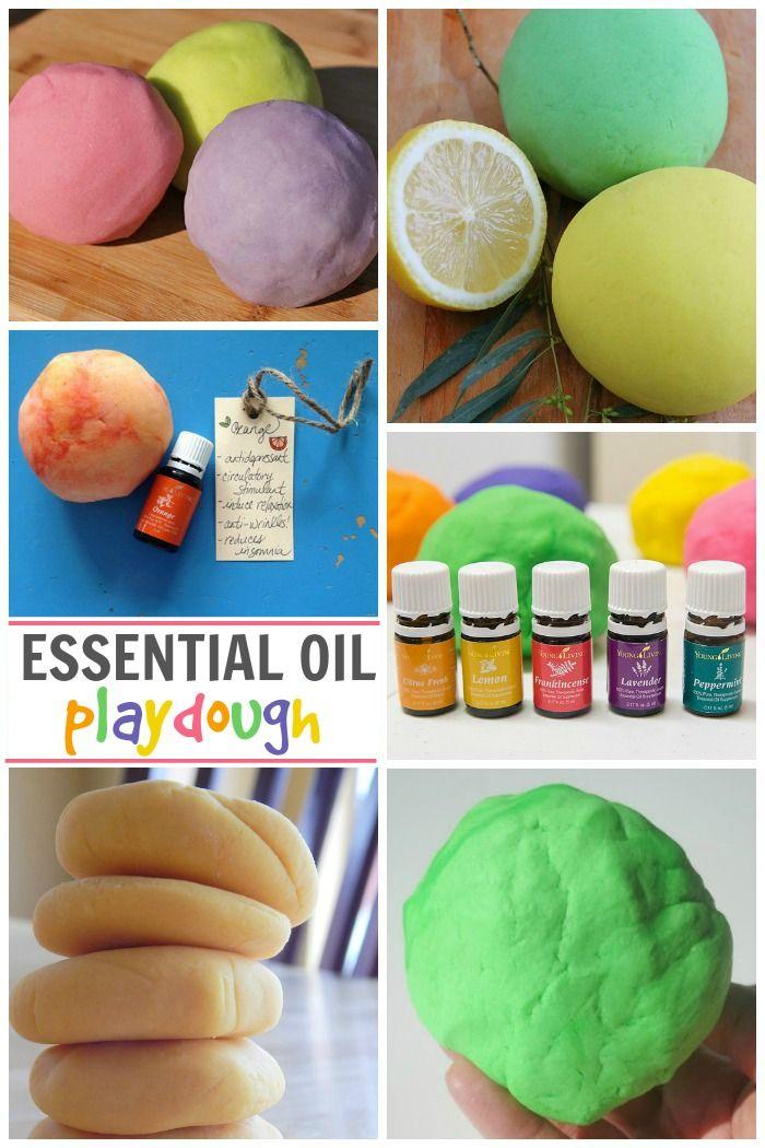 Awesome playdough recipes for kids using essential oils.