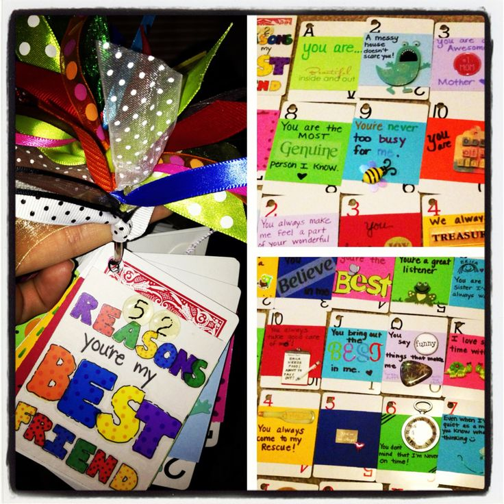 52 reasons you're my best friend using a deck of cards and scrapbook material! She loved it!