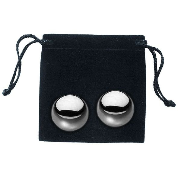 100% stainless steel balls (nickel free). The balls weigh 37 gram each and have a diameter of 2 cm.