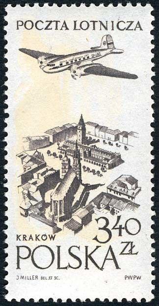 Znaczek: Old Town Krakow (Polska) (Poczta lotnicza) Mi:PL 1037,Sn:PL C43,Pol:PL 892