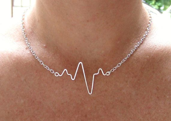 Heartbeat Necklace, EKG, Beating Heart, Pulse Necklace, Gold Silver or Copper, Bride Gift, Bridesmaid Girlfriend Wire Jewelry Gifts Under 20