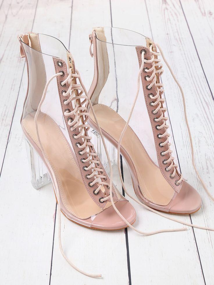 Party Peep Toe Back Reißverschluss Pink High Heel Stiletto Lace Up Zipper Back Transpare ...