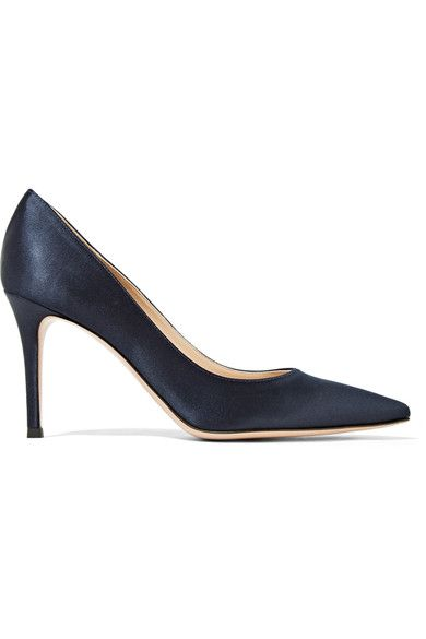 Gianvito Rossi - 85 Satin Pumps - Navy - IT