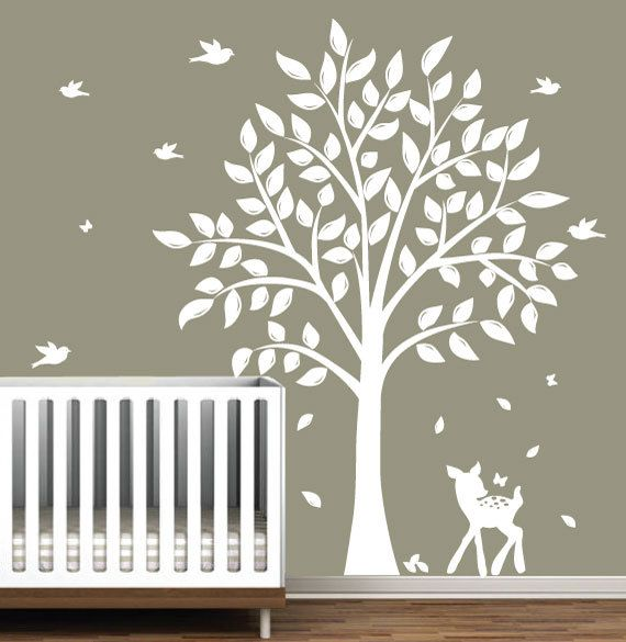Wall decals children 39 s white tree decal with birds for Bird and owl tree wall mural set